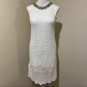 Lilly Pulitzer white jeweled neck crochet dress S